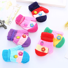 1 pair of cartoon children's gloves even fingers knit warm kawaii fashion Korean autumn and winter comfortable soft gloves