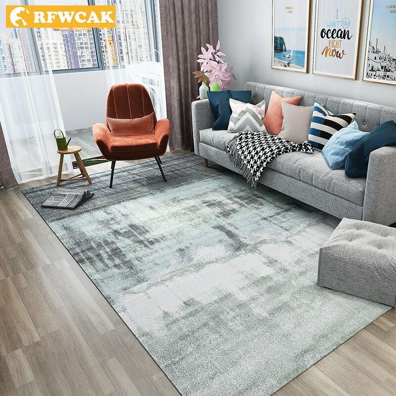 Tapis de peinture à l'encre abstraite nordique RFWCAK pour salon chambre grand tapis anti-dérapant tapis de sol tapis de cuisine petits tapis
