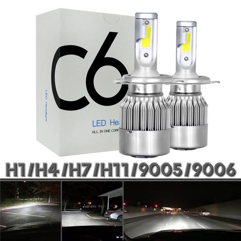 1 пара, Автомобильные светодиодные лампы 12/24 В C6 H4 H1 H4 H7 H11 9005 9006 72 Вт лм