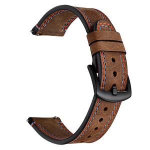 Image 2 - 22MM Smart Replacement Sports Watch With Leather Watch Strap Crazy Horse Double Line Wristband For Huawei Watch Honor Magic