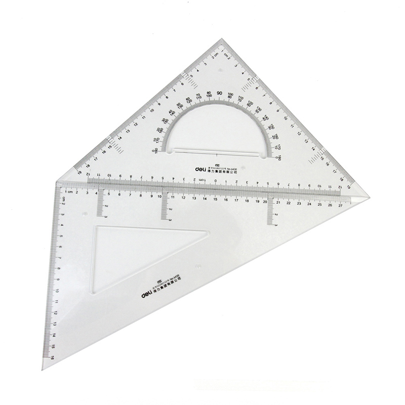 DELI 6430 High Quality Plastic Ruler Student Drawing Ruler Triangular Ruler With Protractor 30cm Lineup For School Paperlaria