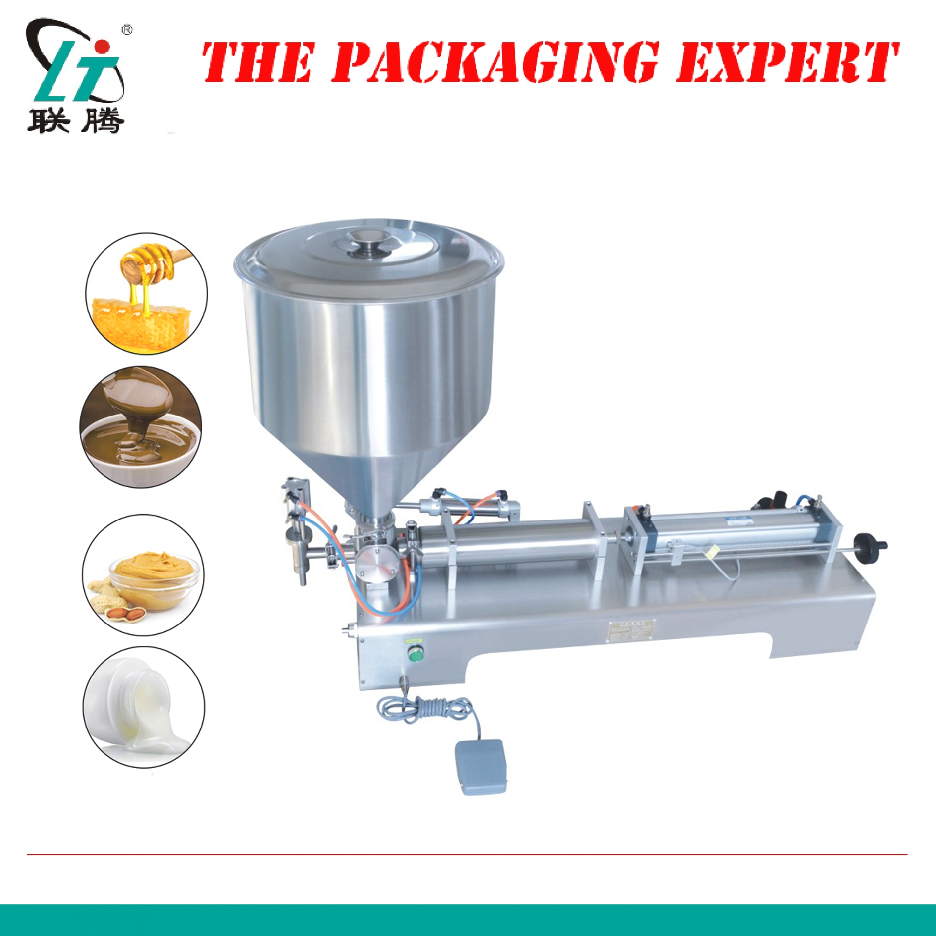 500ml Filler Shampoo Lotion Cream Yoghourt Honey Juice Sauce Jam Gel Filler Paste Filling Machine Pneumatic Piston Filler