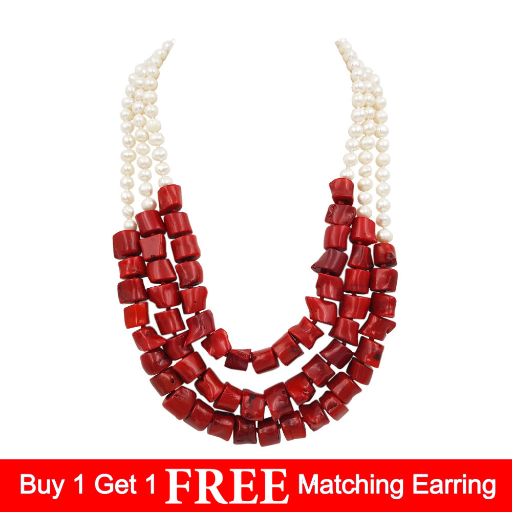 LiiJi Unique Natural Freshwater Pearl 7 8mm Dye Red color Coral 3 Rows Necklace Stone Toggle