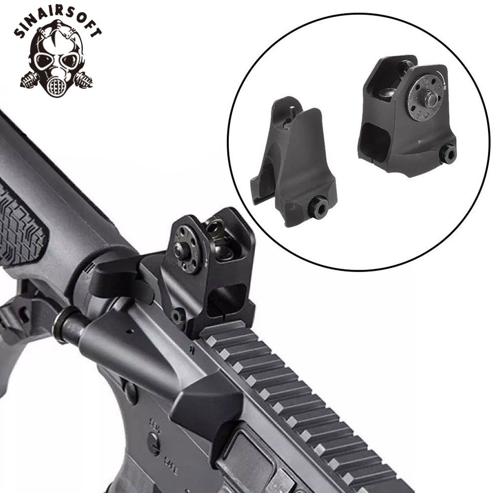 A1.5 Fixed Rear A1 Windage Adjustment Knob And Standard A2 Design Iron Front Sight For Airsoft Picatinny AR15 Black