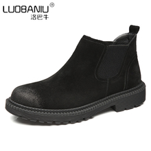 Fashion Slip On Boots Men Cow Suede Leather Ankle Boots Trendy Winter Shoes Man US 6-10 Chelsea Boots цена и фото