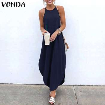 VONDA Women Dress 2019 Summer Sexy Strap Sleeveless Irregular Party Maxi Long Dresses Female Casual Loose Plus Size Vestidos 3