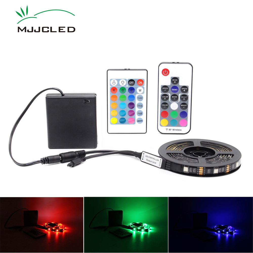 RGB LED Strip Battery Operated Tira LED Stripe 5V Adjustable Waterproof  Battery Powered Remote Control Camping Decorative Lamp