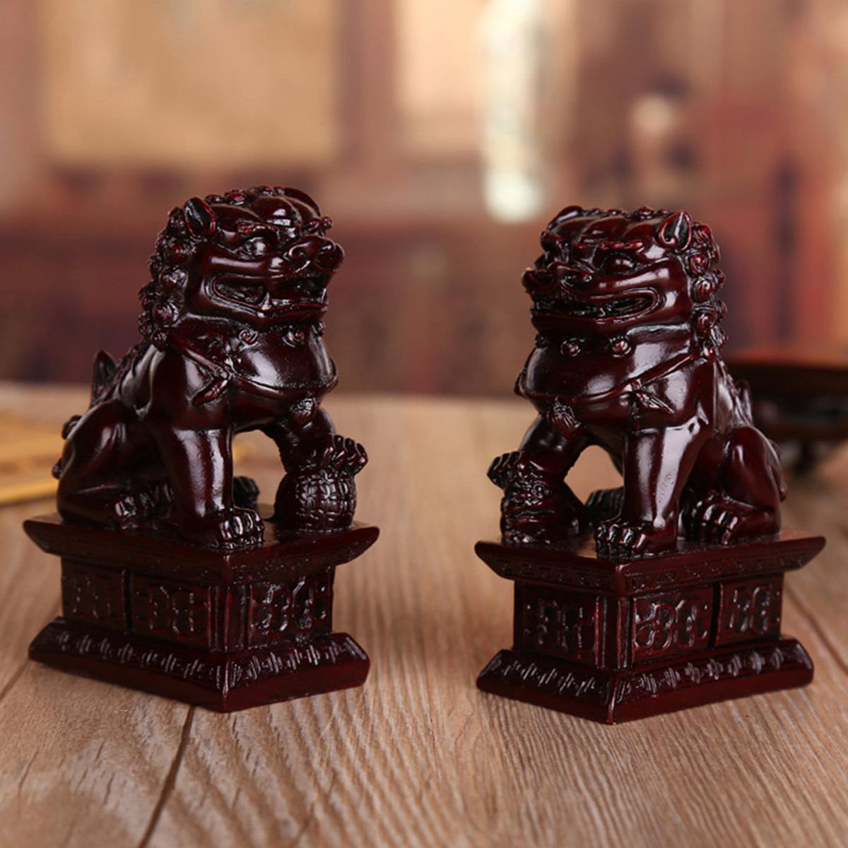 1 Pair Red Chinese Carving Fengshui Lions Resin Fu Foo Dog Guardion Door Lions Statue Beast Statue For Home Sculpture Decoration