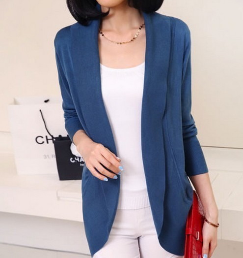 Women Long Sleeve Knitted Sweater Casual Solid Scarf Collar Cardigans Sweaters 5
