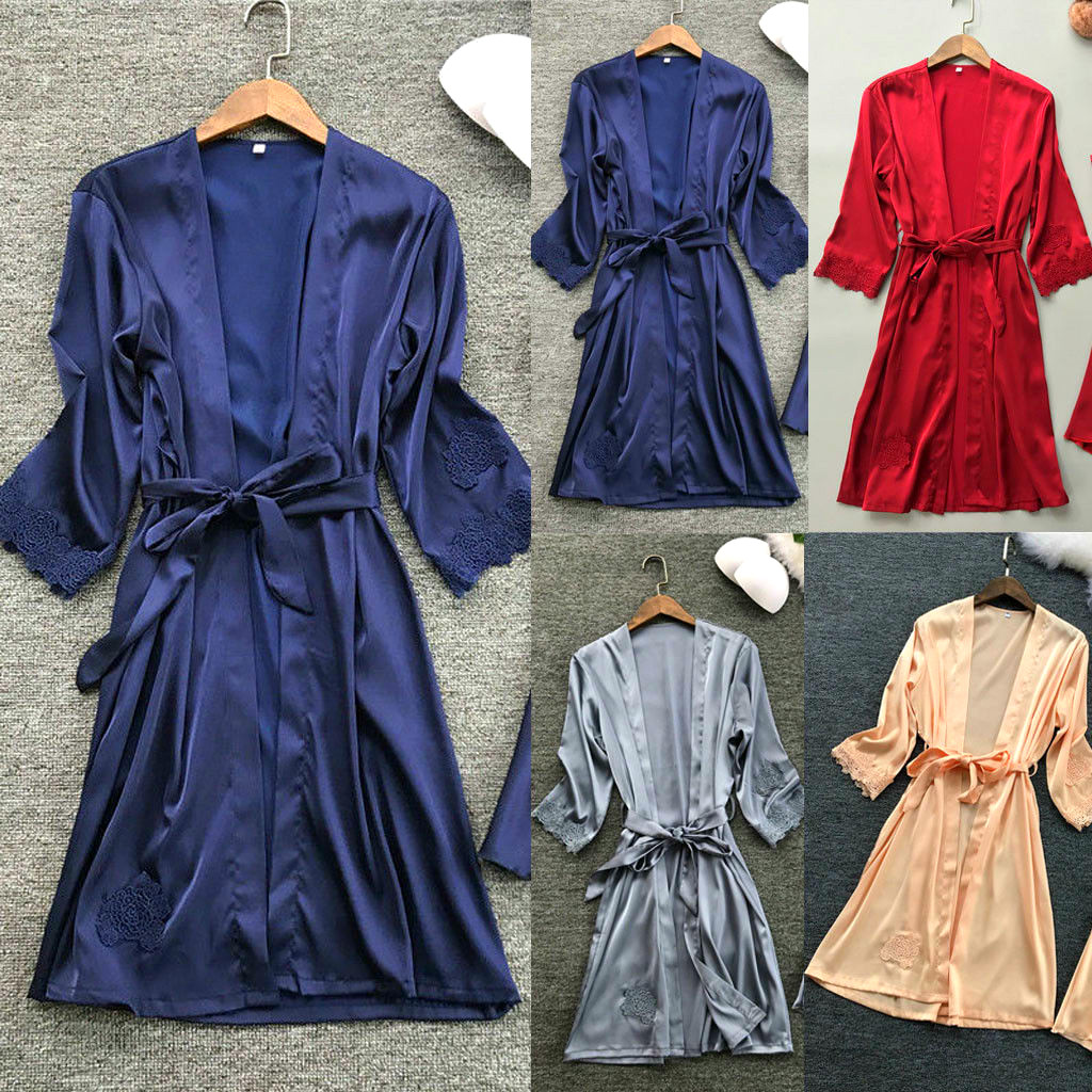 Women\'S Sleepwear Long Sleeve Lace Silk Robe Sleepwear Nightwear Babydoll Bath Sleep Robes Dress Harajuku