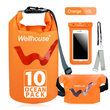 Set of 3 Outdoor Storage Beach Swimming Bags Waterproof Dry Bag Waist Pack Phone Case Travel for Kayking Rafting Boating(China)