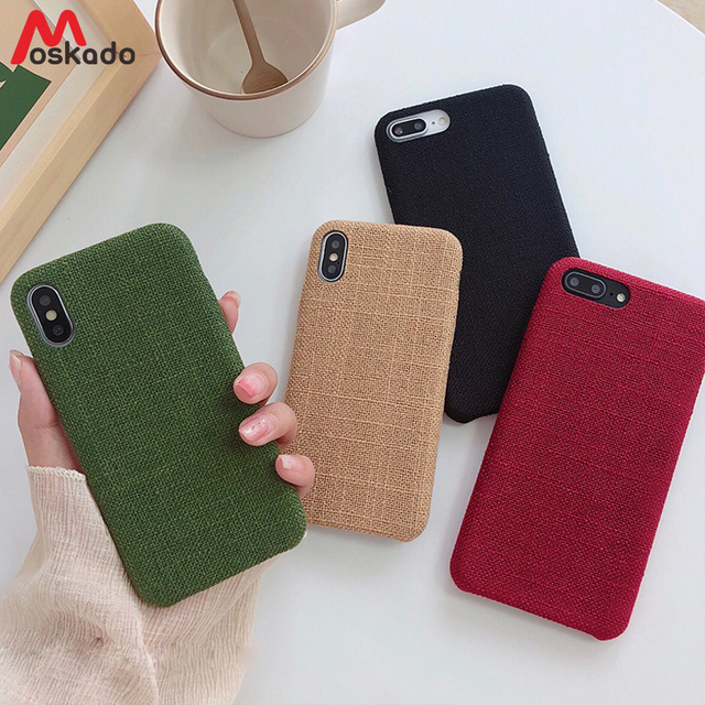 e7736015b9 Moskado Canvas Phone Case For iphone XR XS Max X Fashion Plain Cotton Linen  For iphone