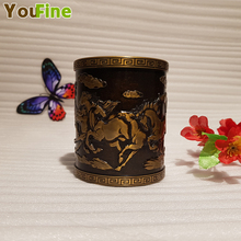 купить Vintage Chinese style bronze pen holder embossed eight horses animal decoration desktop pen storage ornaments дешево