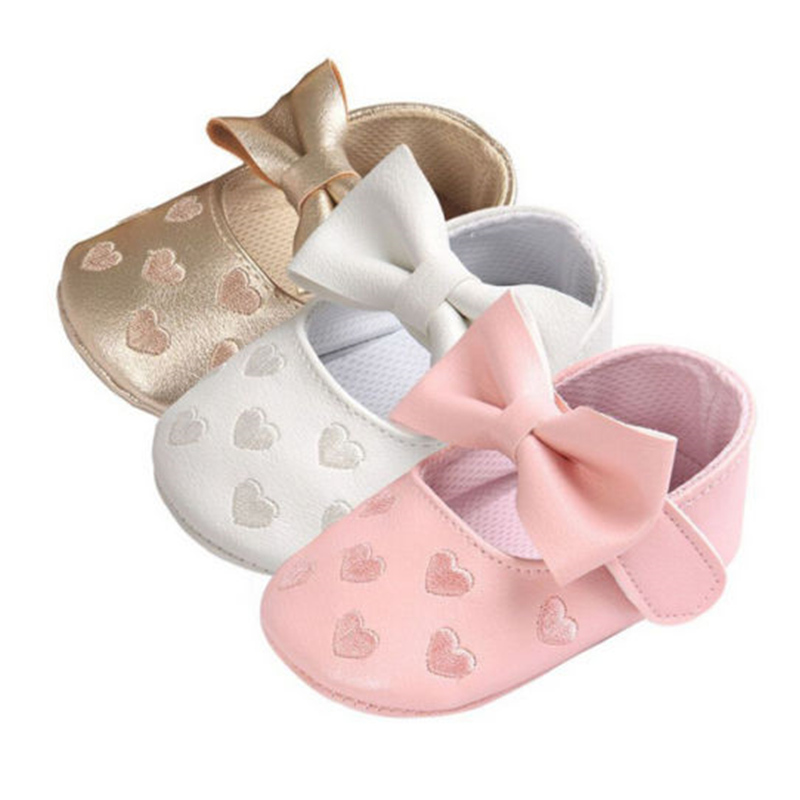 Newborn Baby Shoes Toddler Girls First Walkers Baby Princess Bowknot Embroidery Shoes Infant Soft Sole Prewalker Sneakers