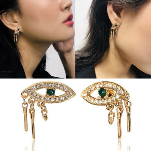Personality Unique Godl Color Crystal Blue Eyes Women Stud Earrings Jewelry Women Gift