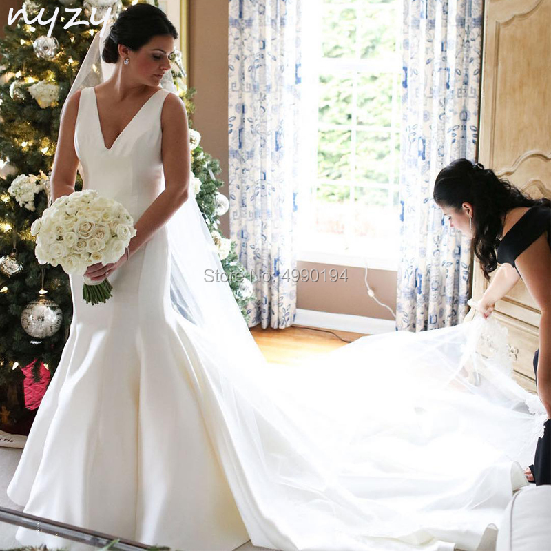 NYZY W17 Satin V Neck Simple Elegant Mermaid Wedding Dresses 2019 Vestido De Novia Robe De Mariee Abiti Da Sposa