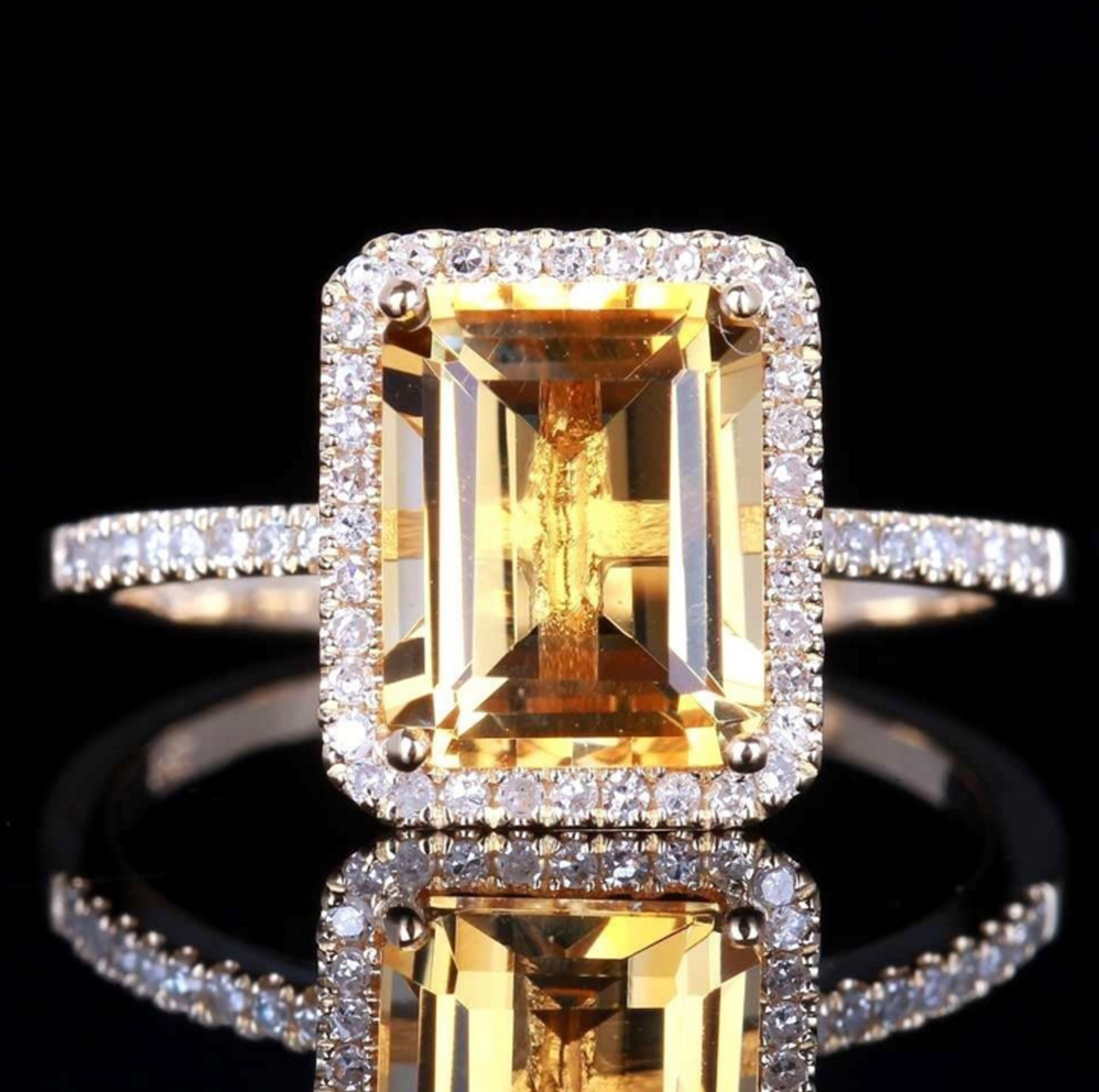 Yellow Shape Cubic Zirconia Rings For Women Silver  Bride Princess Wedding Engagement Ring