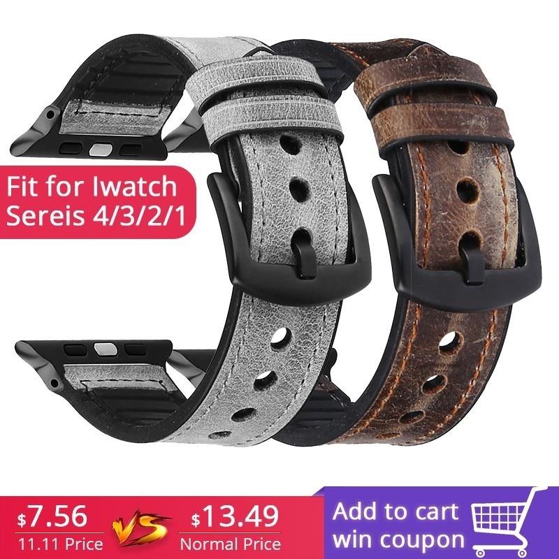 Correa de silicona de cuero para apple watch 44mm series4 3 2 1 correa para iwatch 38mm 42mm pulsera Accesorios inteligentes reemplazo de muñeca