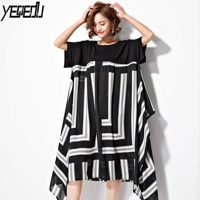 #1625 Summer Irregular Short Sleeve Thin Chiffon Dresses Women Asymmetrical Geometric Big Size Loose O-Neck Trend Tide