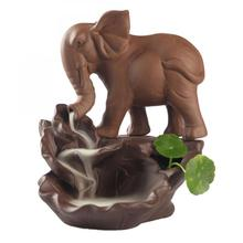 Elephant Backflow Incense Burner Smoke Waterfall Holder Ceramic Aromatherapy Furnace Mountain River Handicrafts