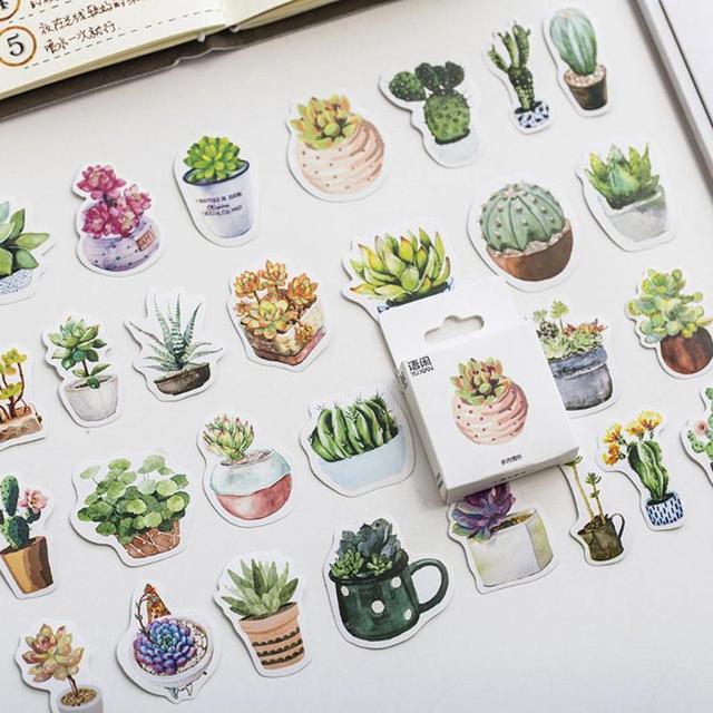 Votool 50 unids/caja plantas verdes DIY pegatinas etiqueta diario Kawaii Scrapbooking Mini papel adhesivo decorativo regalo de papelería