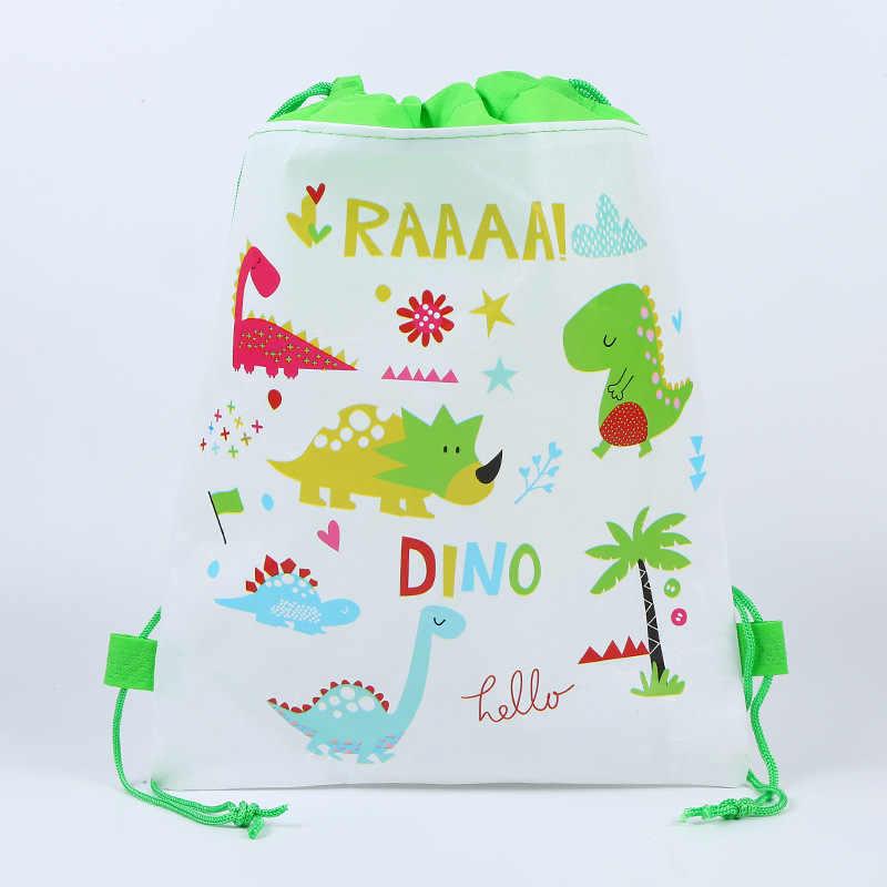 49fb8cf9a3f4 12pcs Cartoon dinosaur Drawstring Backpack Non-Woven Fabric Loot Bag Gift  Bag Theme Party For Kids Boy Girl Birthday Decoration