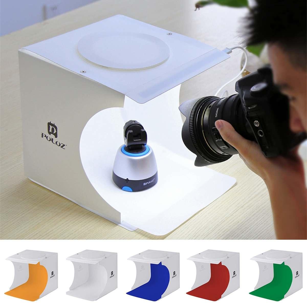 PULUZ portátil Mini Estudio de la foto caja de fotografía cajas fotografía telón de fondo LED luz habitación tienda Mesa disparando nueva llegada