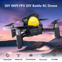 WIFI FPV 2MP DIY Drone Camera Altitude Hold One Key Return RC Battle Quadcopter Black with Yellow Stable Flight Lightweight Kit