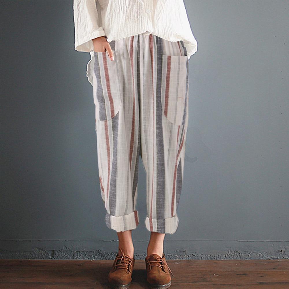 Cotton Linen Pants Women Summer Loose Harem High Waist Striped Pockets Pants Casual Pantalon Female Sweatpants Trouser Plus Size