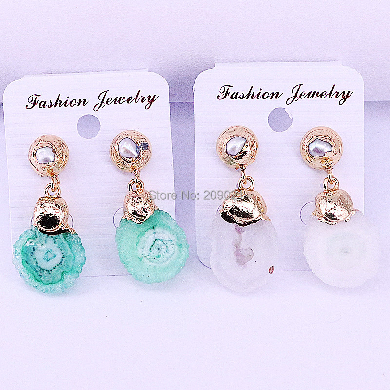 5Pairs Mix Color Quartz Stone Flower Shape with Nature Pearl Women's Fashion Jewelry Dangle Earrings-in Drop Earrings from Jewelry & Accessories    2