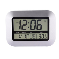 Silver Large Display Digital Wall   Clock   Calendar Thermometer Indoor Temperature date and week display With alarm snooze function
