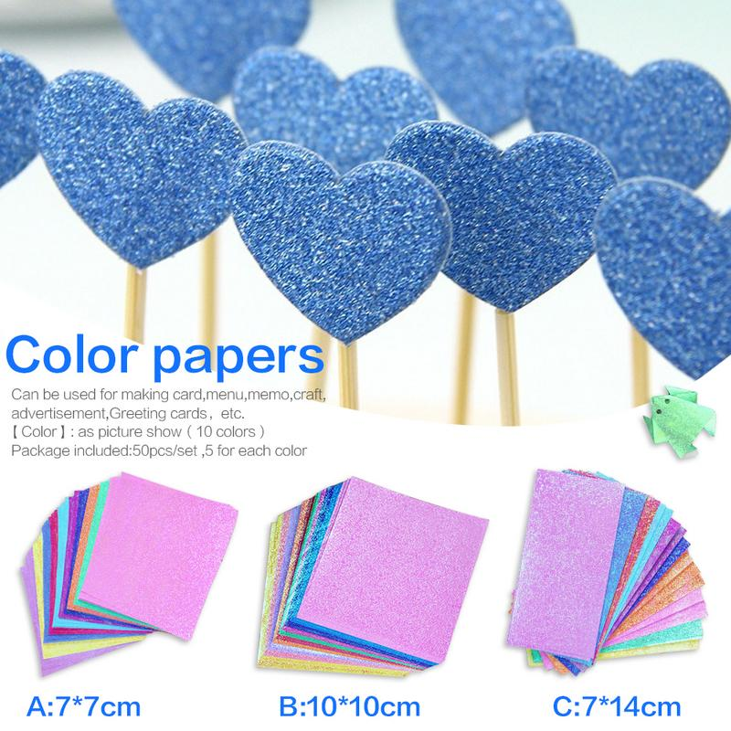 Home & Garden Festive & Party Supplies 50pcs/set Colorful Square Origami Paper Single Side Shining Folding Solid Papers Kids Handmade Diy Scrapbooking Craft Decoration Be Friendly In Use