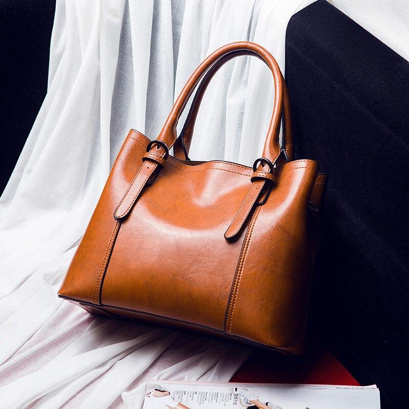 Borse da donna in pelle vintage Brown Grande capacità di tote casuale borse a mano delle donne di croce sacchetto del messaggero del sacchetto di spalla femminile 2019 C840