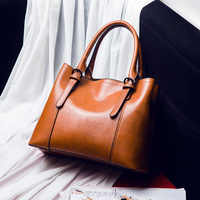 Women leather handbags vintage Brown Large capacity casual tote hand bags women's cross messenger shoulder bag female 2019 C840