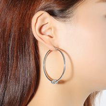 Vnox Trendy Tie Design Hoop Earrings for Women Silver Color Stainless Steel Big Earring Girl Lady Party Ear Jewelry(China)