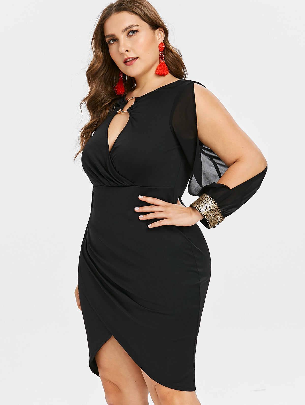 9829c9cd4f5 ... Wipalo Slit Sleeve Plus Size O-Ring Sequin Embellished Bodycon Dress  Elegant Solid Slip Front ...