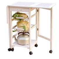 Portable Folding Kitchen Rolling Tile Top Drop Leaf Storage Trolley Cart Multifouction Kitchen Table Storage Rack Shelf