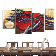 hand painted tree landscape oil painting red sun and moon canvas art wall pictures home decoration modular
