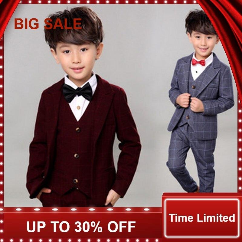 Fashion Boy Clothes Suit Kid 4 Pcs Plaid Children Autumn Winter Formal Clothing Set For Wedding Party Gentleman Suits