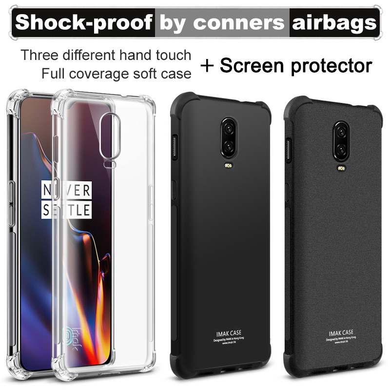Airbag version For Oneplus 6T Case with Screen Protector IMAK Soft TPU silicone phone shell Back Cover Silicon Clear phone cases