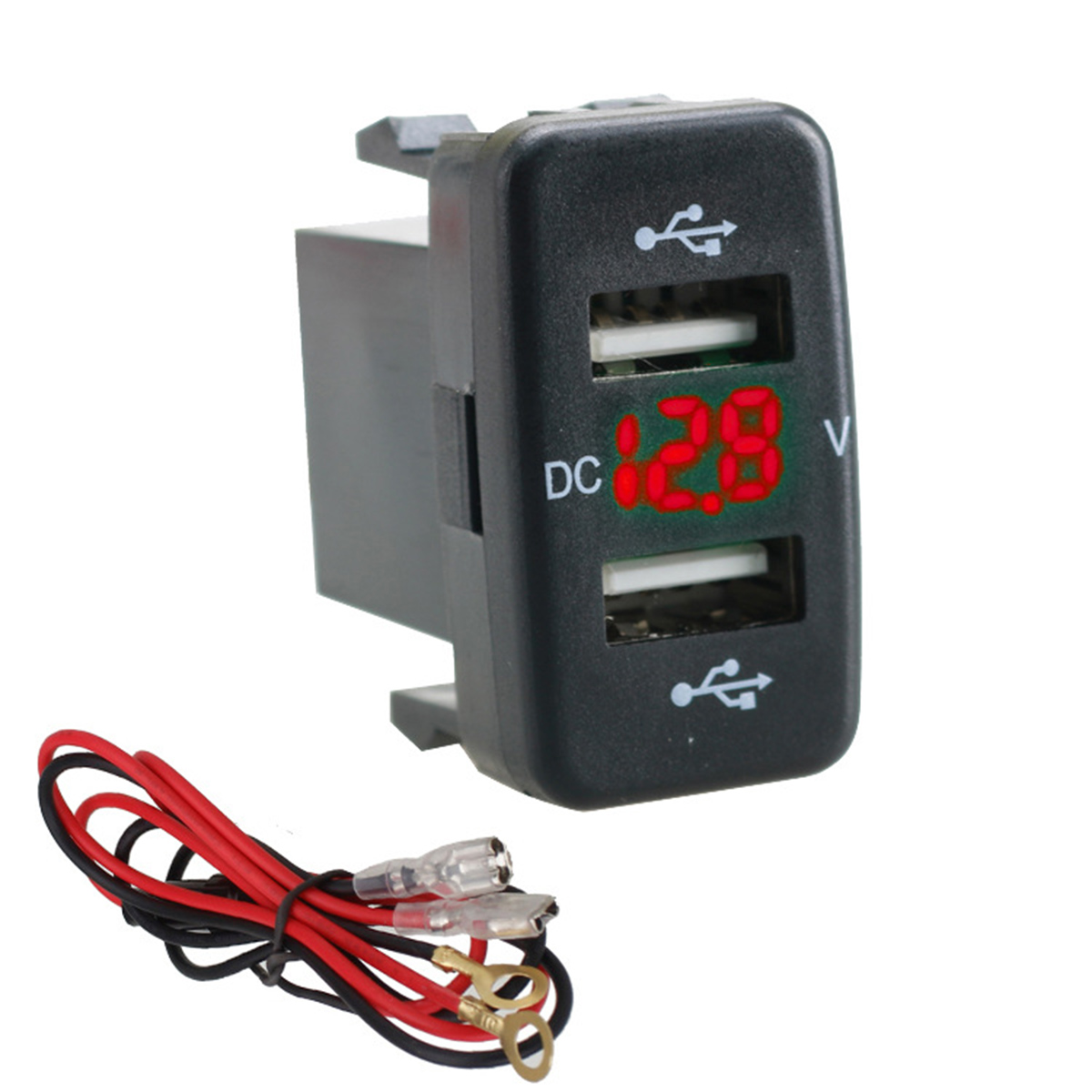 12V-24V Car 4.2A Dual USB Ports Socket Charger Voltmeter Power Socket for Toyota12V-24V Car 4.2A Dual USB Ports Socket Charger Voltmeter Power Socket for Toyota