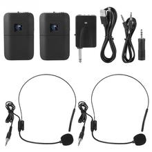Microfone Sem Fio Two channels Portable Wireless UHF Mic Head mounted Microphone with Receiver Transmitter Portable