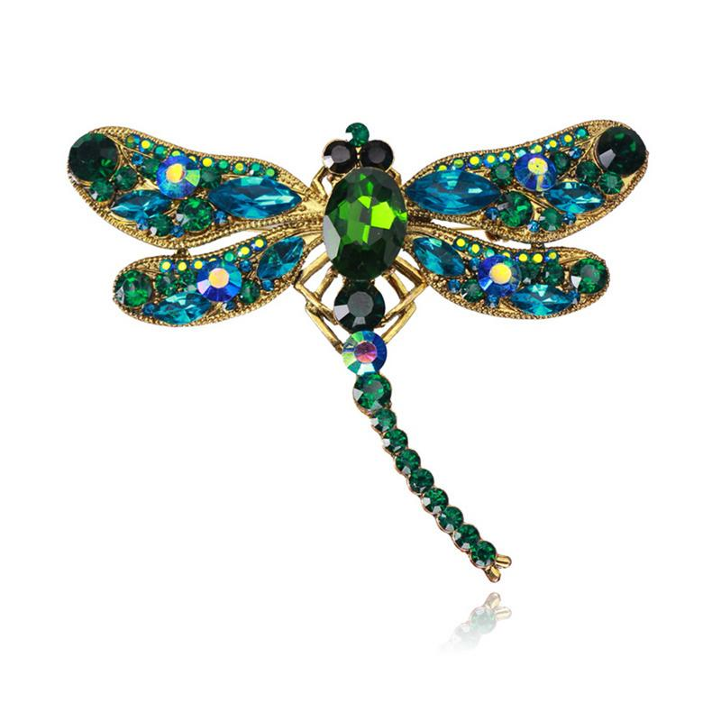 Women Crystal Rhinestone Inlaid Vintage Fashionable Dragonfly Shaped Brooch Pin Scarves Buckle Animal Pattern Brooch Accessories