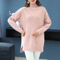 Брендовый свитер 2019 весенний женский свитер новый чистый цвет трикотажные свитера с высоким воротом джемпер смесь шерсти и кашемира длинны