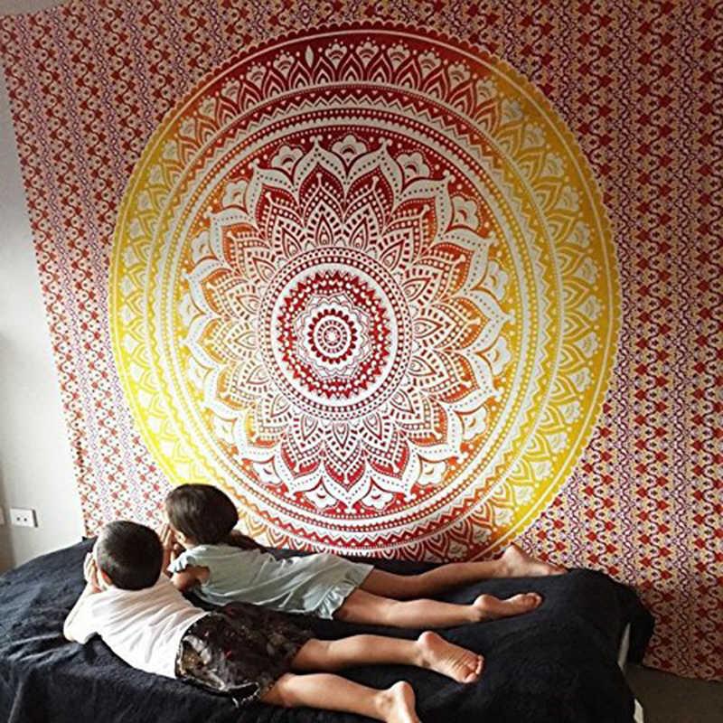 インド壁掛け曼荼羅タペストリー自由奔放に生きる壁敷物インドショールカラフルなポリエステルテーブルクロス 200*150 センチメートル曼荼羅壁タペストリー
