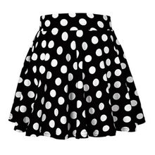 все цены на Women's High Waisted Polka Dot Skirt Stretchy Swing Flared Mini Skirt Party Club Mini Skirt 2019 New Arrival онлайн