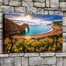 1 Piece Artwork Springtime Beach Sunset Flowers Arch Rocks Painting On Canvas Print Type And The Living Room Wall Decor