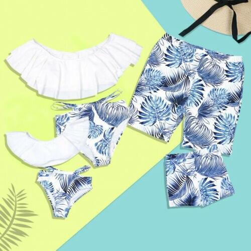 Family Matching Summer Swimwear Men Women Boys Girls Bikini Swimsuit Hot Floral Printed Beachwear