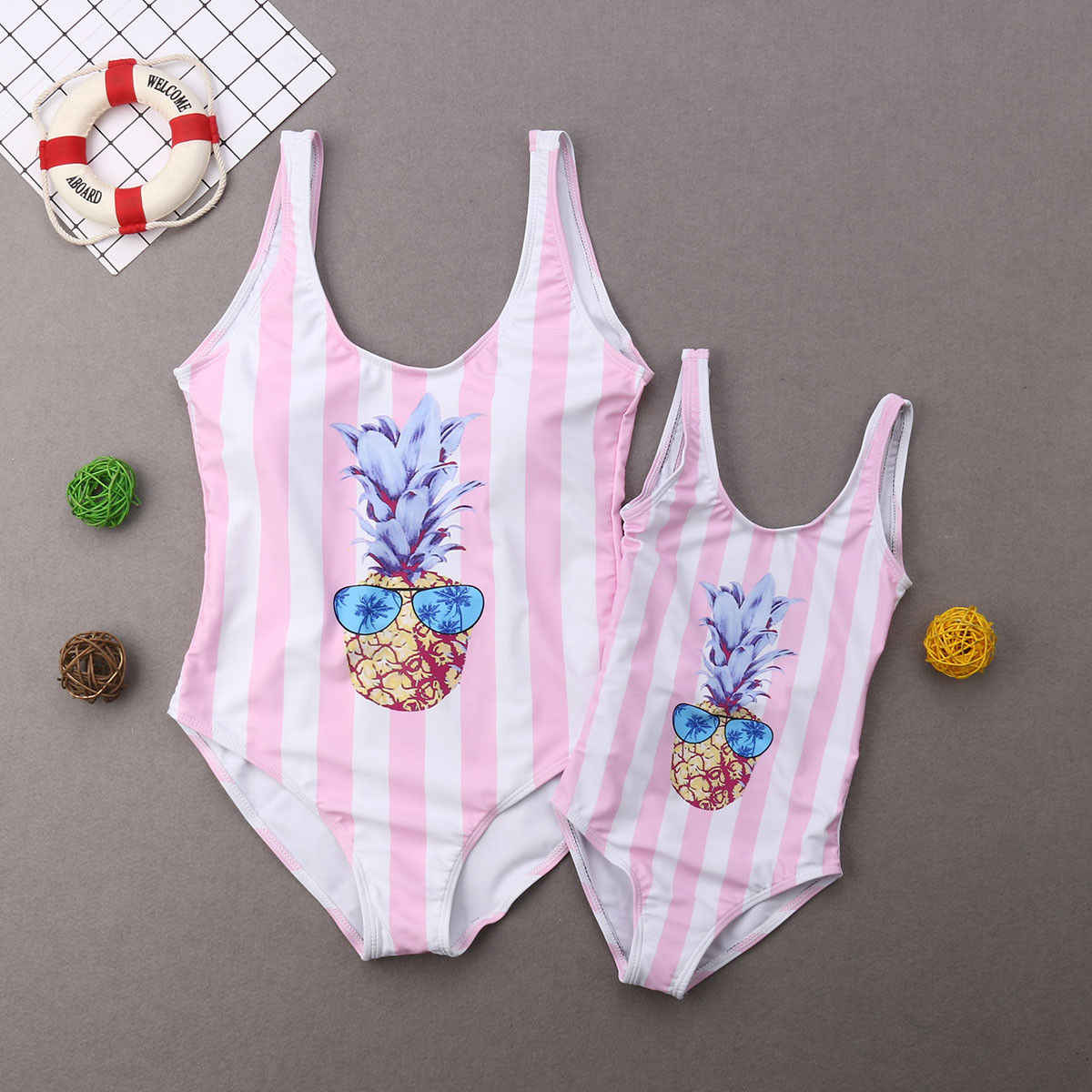 a9dbcc4afc Hirigin 2019 Family Matching Swimwear Mother And Me New Stripes One Piece  Swimsuit Backless Babys Summer