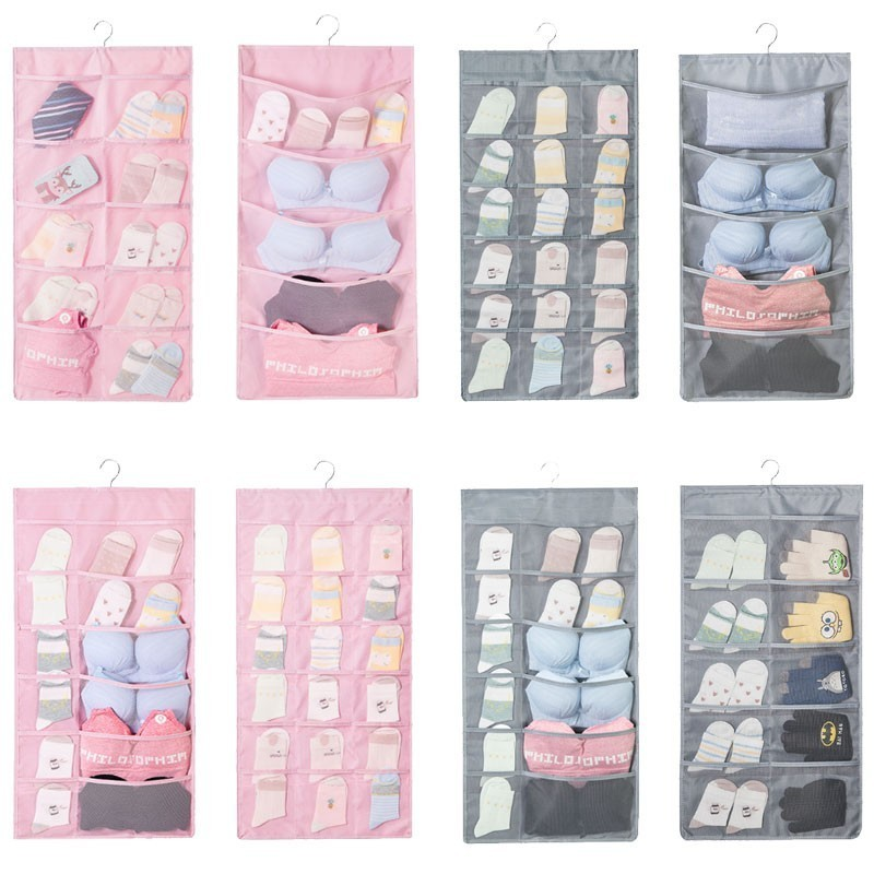Image 5 - Multi layer Multi color Double sided Storage Bag Dormitory Bedroom Socks, Gloves Wall mounted Storage Underwear organizer-in Storage Bags from Home & Garden